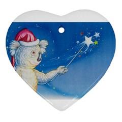 Santa Wand koala Ceramic Ornament (Heart)