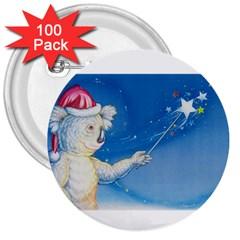 Santa Wand Koala 100 Pack Large Button (round)