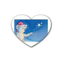 Santa Wand koala 4 Pack Rubber Drinks Coaster (Heart)