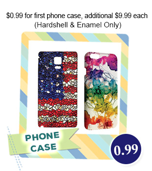 $0.99 for 1st Custom Phone Case, Additional $9.99/each with Free Shipping (Hardshell & Enamel Only)