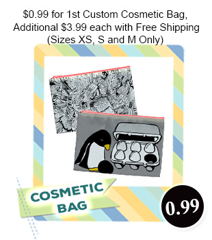 $.99 for 1st Custom Cosmetic Bag Additional $3.99 Each with Free Shipping