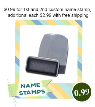 $0.99 for 1st and 2nd custom name stamp, additional each $2.99 with free shipping
