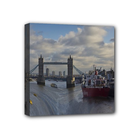 Thames Waterfall Color 4  X 4  Framed Canvas Print by Londonimages