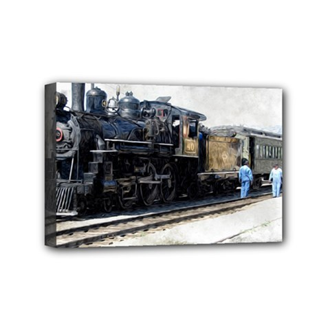 The Steam Train 4  X 6  Framed Canvas Print by AkaBArt