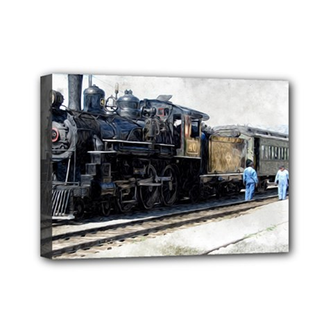 The Steam Train 5  X 7  Framed Canvas Print by AkaBArt