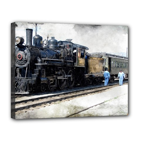 The Steam Train 11  X 14  Framed Canvas Print by AkaBArt