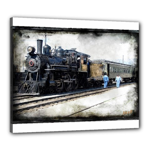 The Steam Train 20  X 24  Framed Canvas Print by AkaBArt