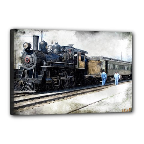The Steam Train 12  X 18  Framed Canvas Print by AkaBArt