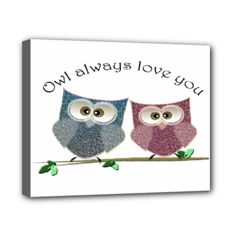 Owl Always Love You, Cute Owls 8  X 10  Framed Canvas Print by DigitalArtDesgins
