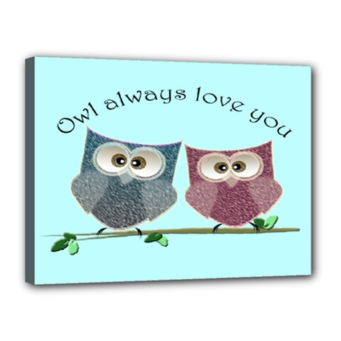Owl Always Love You, Cute Owls 12  X 16  Framed Canvas Print by DigitalArtDesgins