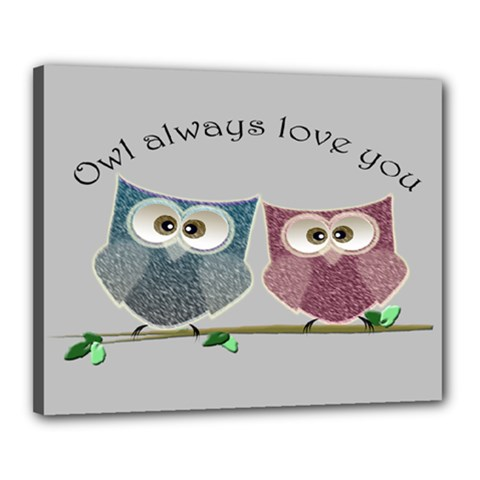 Owl Always Love You, Cute Owls 16  X 20  Framed Canvas Print by DigitalArtDesgins