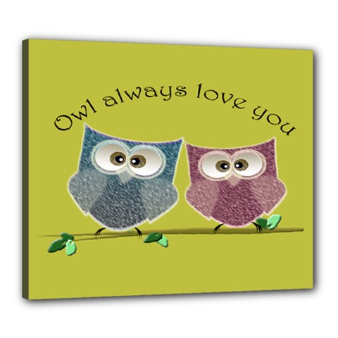 Owl Always Love You, Cute Owls 20  X 24  Framed Canvas Print by DigitalArtDesgins