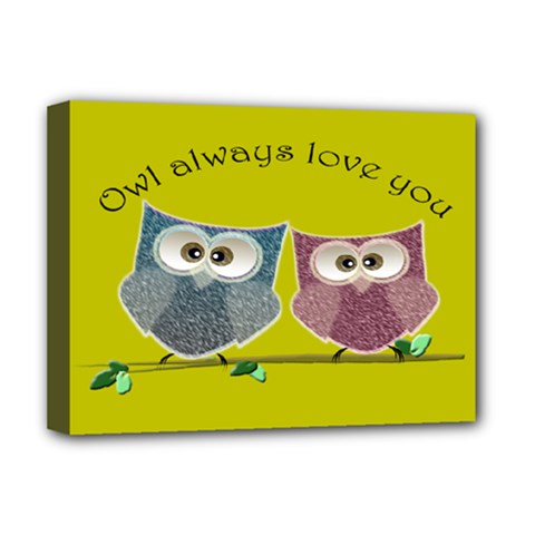 Owl Always Love You, Cute Owls Deluxe Canvas 16  X 12  (stretched)  by DigitalArtDesgins