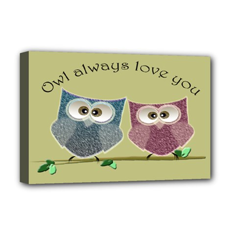 Owl Always Love You, Cute Owls Deluxe Canvas 18  X 12  (stretched) by DigitalArtDesgins