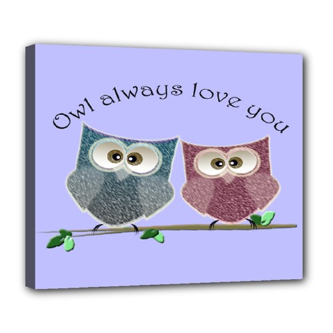 Owl Always Love You, Cute Owls Deluxe Canvas 24  X 20  (stretched) by DigitalArtDesgins