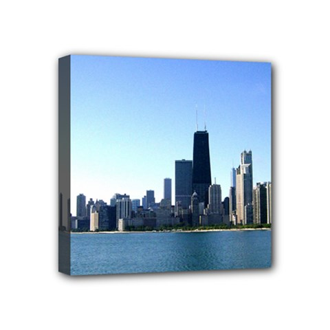 Chicago Skyline Mini Canvas 4  x 4  (Framed)