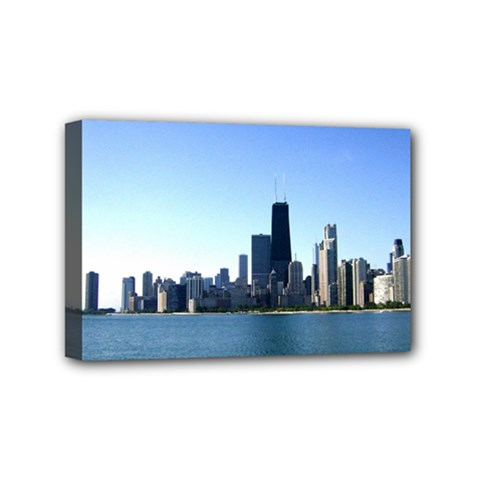 Chicago Skyline Mini Canvas 6  x 4  (Framed)
