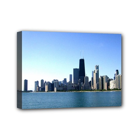 Chicago Skyline Mini Canvas 7  x 5  (Framed)