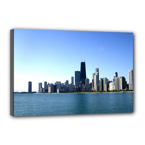 Chicago Skyline Canvas 18  x 12  (Framed)