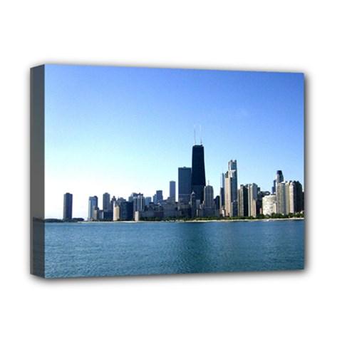 Chicago Skyline Deluxe Canvas 16  X 12  (framed)  by canvasngiftshop