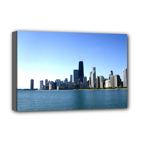 Chicago Skyline Deluxe Canvas 18  X 12  (framed) by canvasngiftshop