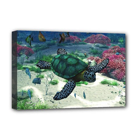 Sea Turtle Deluxe Canvas 18  X 12  (framed)