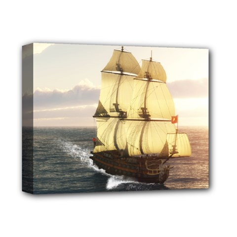French Warship Deluxe Canvas 14  X 11  (framed)