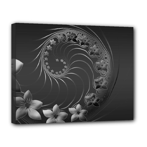 Dark Gray Abstract Flowers Canvas 14  X 11  (framed) by BestCustomGiftsForYou