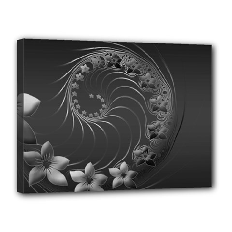 Dark Gray Abstract Flowers Canvas 16  X 12  (framed)