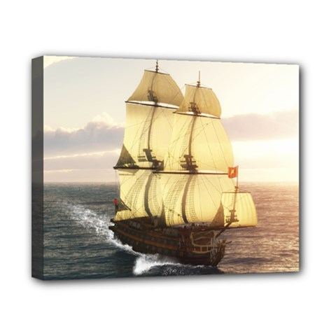 French Warship Canvas 10  X 8  (framed) by gatterwe