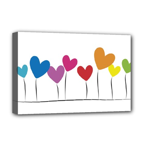 Heart Flowers Deluxe Canvas 18  X 12  (framed) by magann