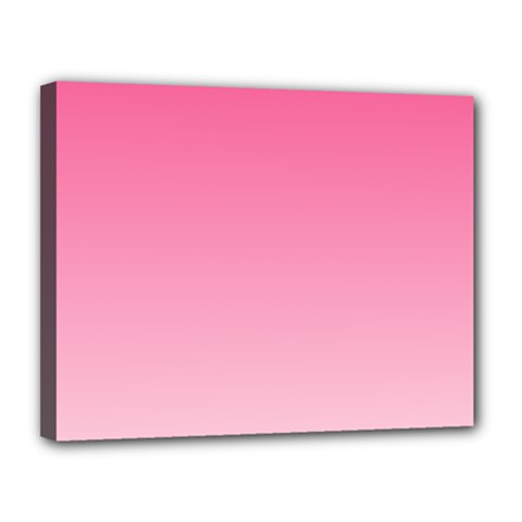 French Rose To Piggy Pink Gradient Canvas 14  X 11  (framed)