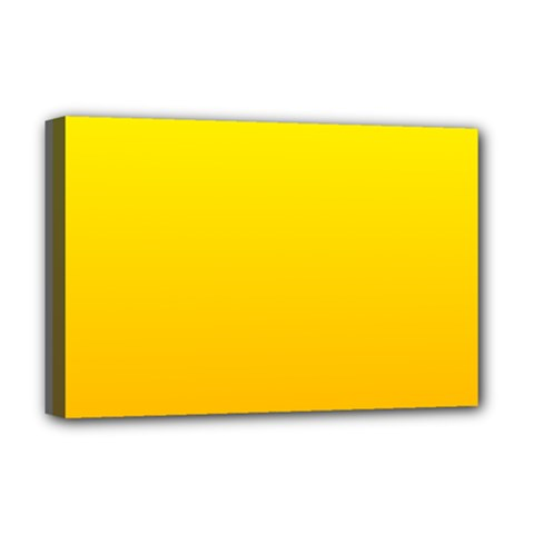 Yellow To Chrome Yellow Gradient Deluxe Canvas 18  X 12  (framed)