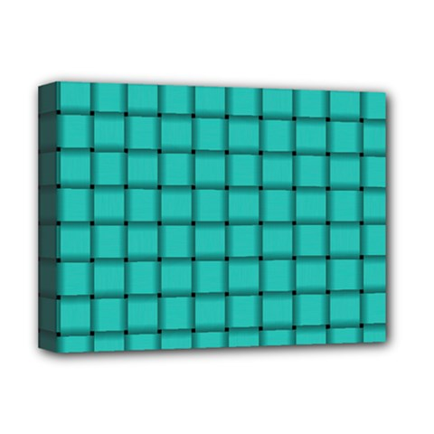 Turquoise Weave Deluxe Canvas 16  X 12  (framed)  by BestCustomGiftsForYou