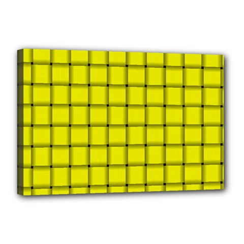 Yellow Weave Canvas 18  X 12  (framed)