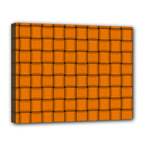 Orange Weave Canvas 14  X 11  (framed)
