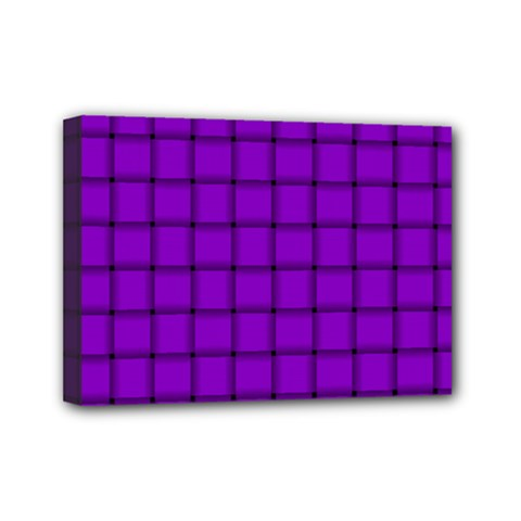 Dark Violet Weave Mini Canvas 7  X 5  (framed) by BestCustomGiftsForYou