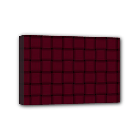 Dark Scarlet Weave Mini Canvas 6  X 4  (framed) by BestCustomGiftsForYou