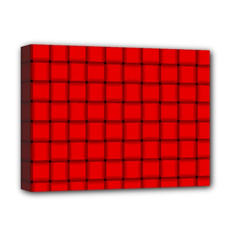 Red Weave Deluxe Canvas 16  X 12  (framed)