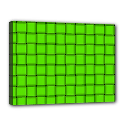 Bright Green Weave Canvas 16  X 12  (framed) by BestCustomGiftsForYou
