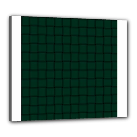 Dark Green Weave Canvas 24  X 20  (framed) by BestCustomGiftsForYou