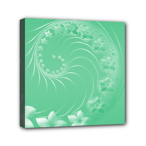 Light Green Abstract Flowers Mini Canvas 6  X 6  (framed)