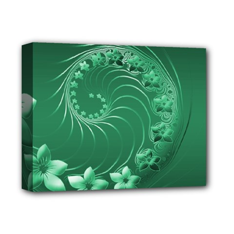 Green Abstract Flowers Deluxe Canvas 14  X 11  (framed) by BestCustomGiftsForYou
