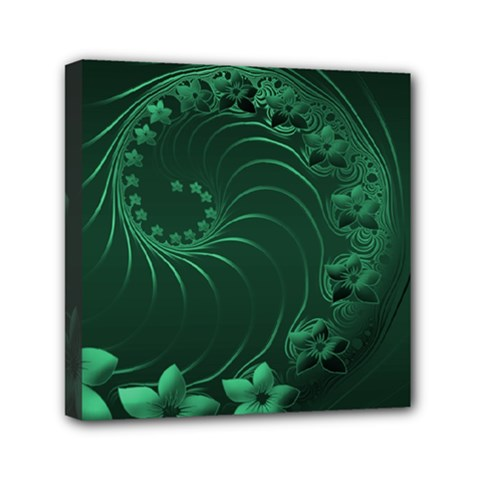 Dark Green Abstract Flowers Mini Canvas 6  X 6  (framed)
