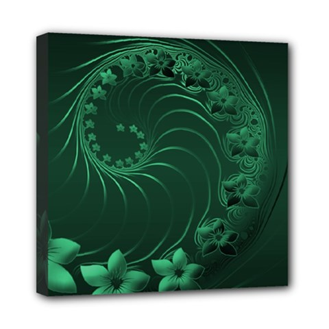 Dark Green Abstract Flowers Mini Canvas 8  X 8  (framed)