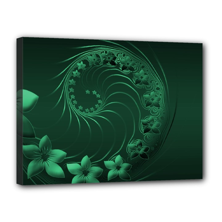 Dark Green Abstract Flowers Canvas 16  x 12  (Framed)