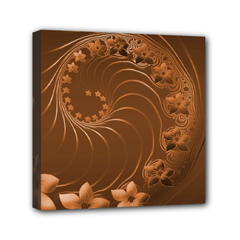 Brown Abstract Flowers Mini Canvas 6  X 6  (framed) by BestCustomGiftsForYou
