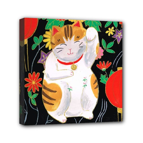 Maneki Neko Mini Canvas 6  X 6  (framed) by TabbyCatStudios