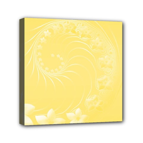 Yellow Abstract Flowers Mini Canvas 6  X 6  (framed) by BestCustomGiftsForYou