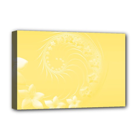 Yellow Abstract Flowers Deluxe Canvas 18  X 12  (framed) by BestCustomGiftsForYou